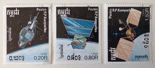 Lote de 3 sellos CTO de Kampuchea- espacio