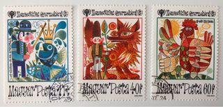 Lote de 3 sellos CTO de Hungría- cuentos