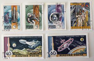 Lote de 6 sellos CTO de Hungría- espacio