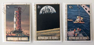 Lote de 3 sellos CTO de Guinea- espacio