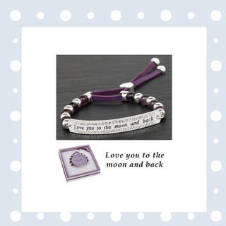 Equilibrium Silver Plated Amethyst Bracelet Moon