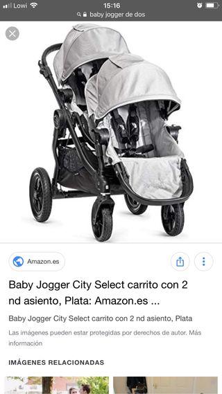 Carrito Gemelar Baby Jogger City Select + 1 capazo