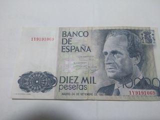 Billete de 10.000 pesetas. Numismática, monedas