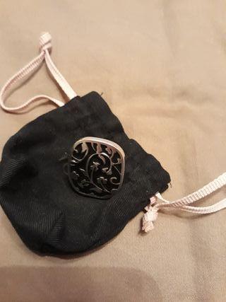 anillo tous sello negro y plata