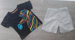 Conjunto de pantalón de lino y camiseta T:3-4