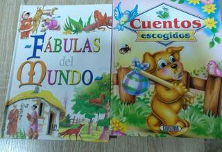 Lote de dos libros de cuentos y fábulas infantiles