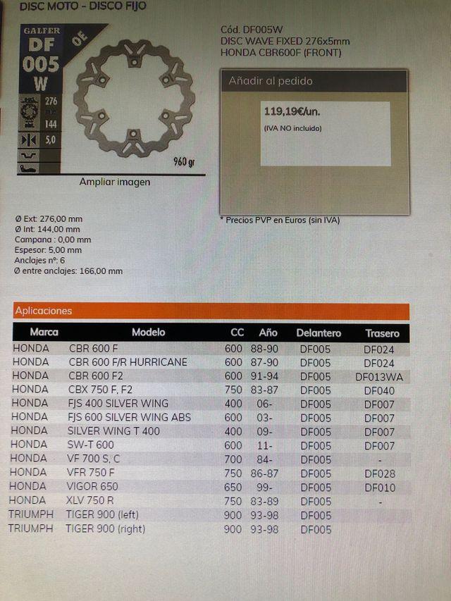Discos HONDA CBR 600F