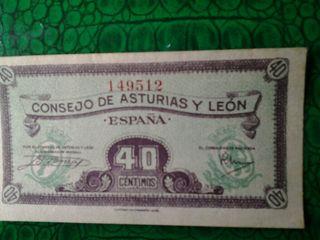 Billete 40 céntimos Consejo de Asturias y León