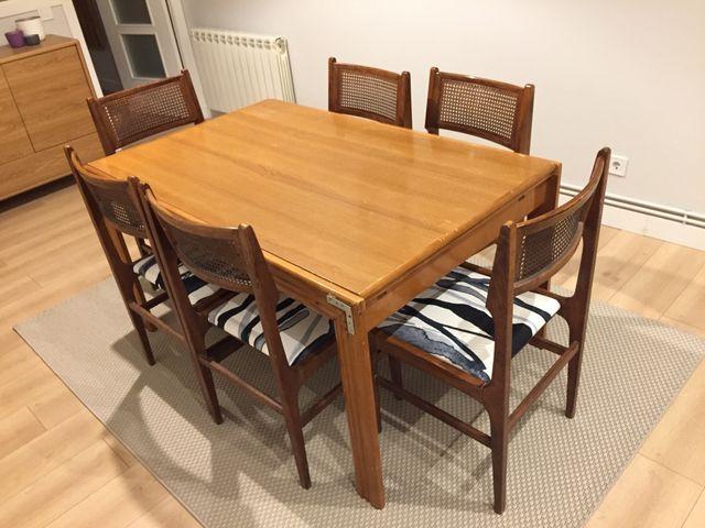 Mesa plegable comedor y 6 sillas vintage de segunda mano por 110 ...