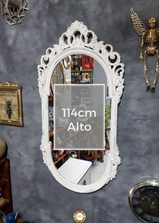 Espejo Barroco Blanco 114cm Alto Madera
