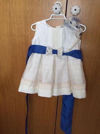 Vestido azul y beig niña