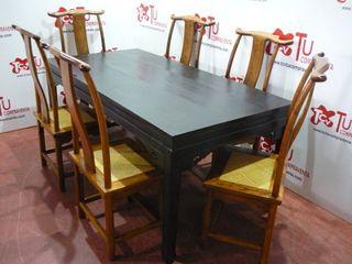 Mesa salon comedor con 6 sillas rusticas