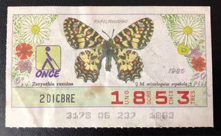 Billete de lotería de 1986- mariposas