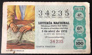 Billete de lotería de 1976- alfabeto Braille
