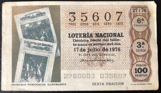 Billete de lotería 1976- 1os periódicos ilustrados