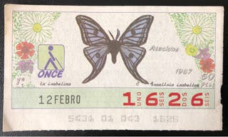 Billete de lotería de 1987- mariposas