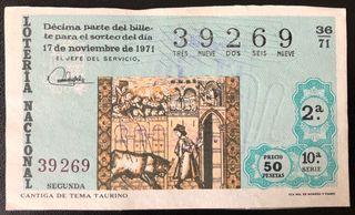 Billete lotería de 1971- cantiga de tema taurino