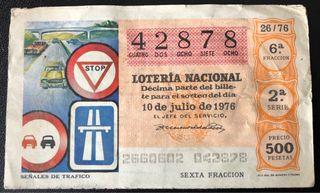 Billete de lotería de 1976- señales de tráfico