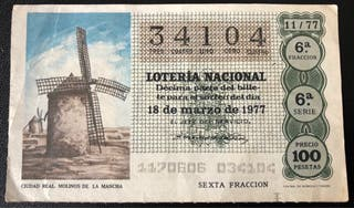 Billete de lotería de 1977- molinos de La Mancha
