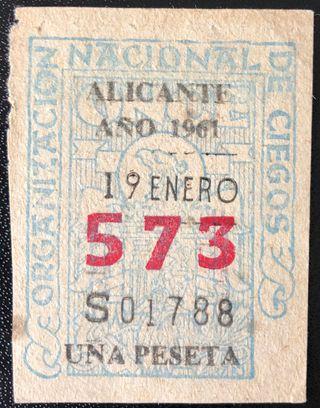 Billete de lotería de Alicante de 1961- Nº: 573