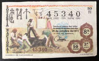 Billete de lotería de 1971- hierros de ganaderías