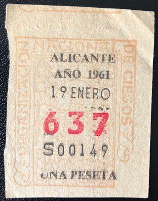 Billete de lotería de Alicante 1961- Nº: 637