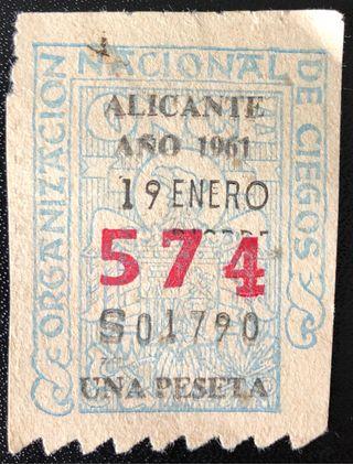 Billete de loteía de Alicante de 1961- Nº: 574