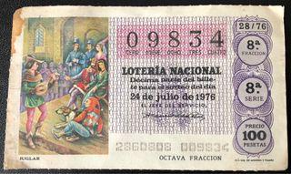 Billete de lotería de 1976- juglar