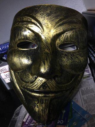 Mascara Dorada V de Vendeta o Anonymous