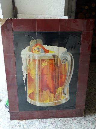 cuadro antiguo de cerveza cruzcampo