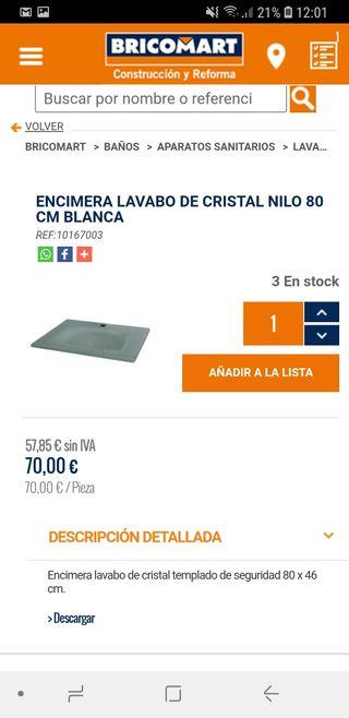 encimera lavabo cristal 80x45cm