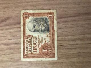 Billete 1 peseta y 1953