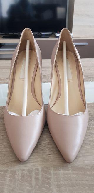 zapatos de salón nude talla 37