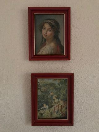 2 cuadros de tela enmarcados en rojo