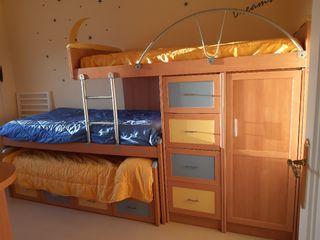Habitacion juvenil tren literas 3 camas y armario