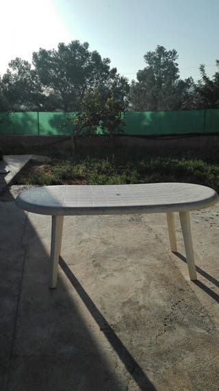 Mesa plástico terráza jardín exterior grande