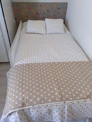 Cabecero y colcha Zara home cama 90.