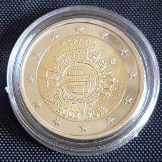 Moneda 2 Euros España conmemorativa 2002-2012.