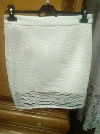 falda mini falda blanca rejilla talla 38