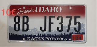 Idaho, Matriculas Americanas
