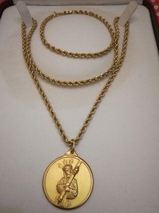 Cordón salomónico de oro y medalla Cristo
