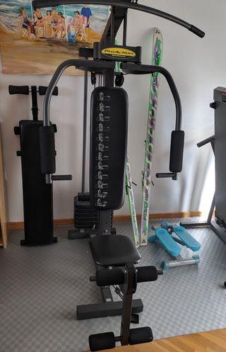 multipower para pesas, cinta de correr y banco.