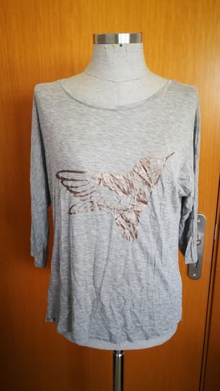 Camiseta pájaro plata