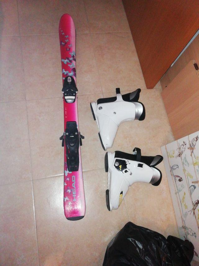 conjunto botas y esquis junior