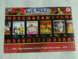 Bloque de 4 sellos Elvis Presley.