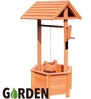 Wooden Wishing Well Bucket Planter