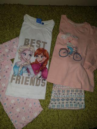 Lote de 2 pijamas Frozen y niña con bici.