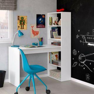 Mesa de escritorio con estante reversible INCLUIDO