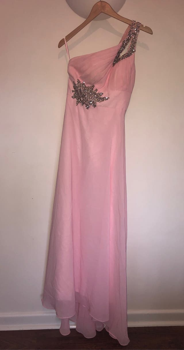 One shoulder diamanté Pink prom dress