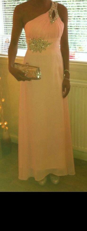 One shoulder diamanté Pink prom dress
